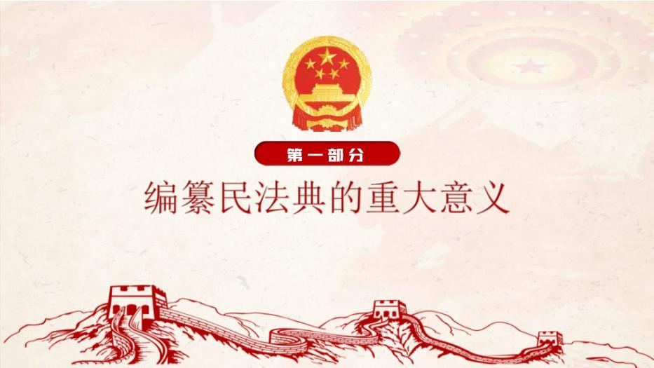 中华人民共和国民法典草案学习解读党课PPT