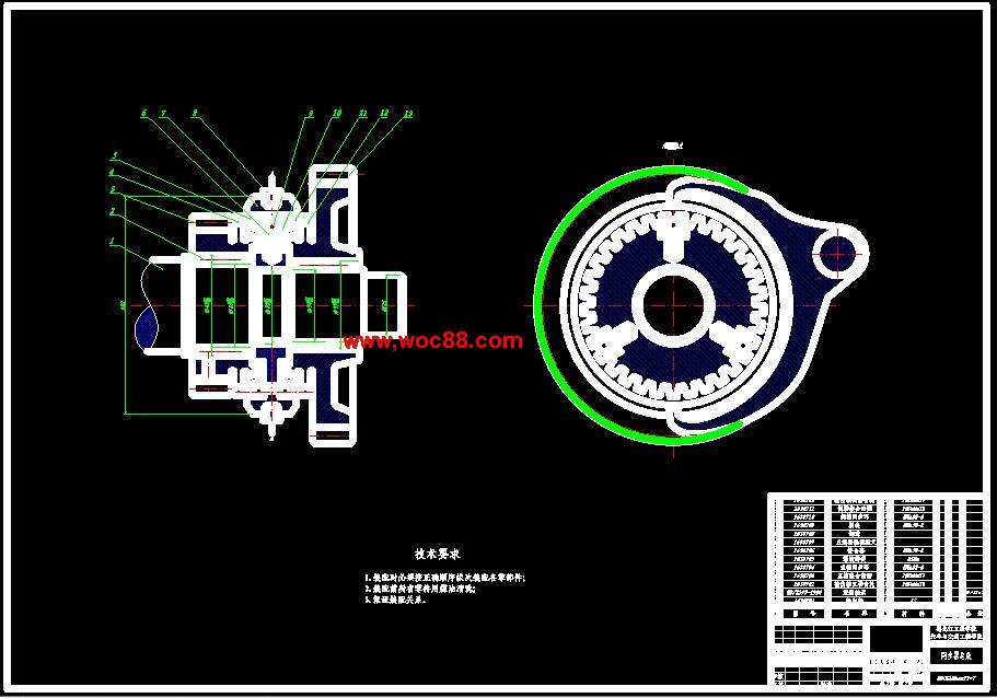 《捷达轿车GIF两轴式变速器设计.rar》由会员分享,可在线阅读全文,更多相关《【毕业CAD图】捷达轿车GIF两轴式变速器设计【打包下载】》请在www.woc88.com上搜索。以下为随机截取简介,内容不分先后: 1、面处制有破坏油膜的细牙螺纹槽及与螺纹槽垂直的泄油槽,用来保证摩擦面之间有足够的摩擦因数。、同步环主要尺寸的确定()锥面半锥角摩擦锥面半锥角越小,摩。 2、环常选用能保证具有足够高的强度和硬度、耐磨性能良好的黄铜合金制造,如锰黄铜、铝黄铜和锡黄铜等。由黄铜合金与钢材构成的摩擦副,在油中工作的