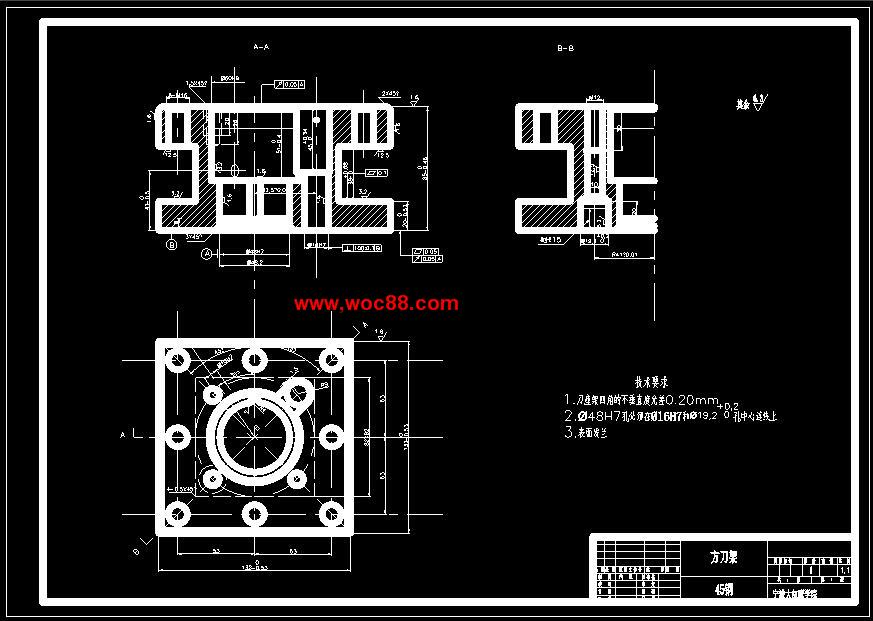【cad设计图纸】方刀架工艺及铣床和钻床夹具设计【全套终稿】