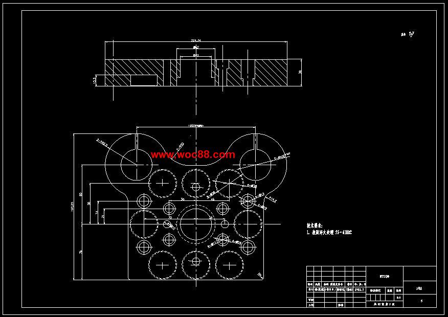 《玻璃升降器复合拉深模的设计.rar》由会员分享,可在线阅读全文,更多相关《【全套设计】玻璃升降器复合拉深模的设计【CAD图纸】》请在www.woc88.com上搜索。  第一章 杆长度ll模柄总长+凸凹模高推件块厚=+-=mm取l=mm。()卸料螺钉长度l l=(+)+()=mm式中为卸料板厚度,为上模座厚度。()推杆长度ll模柄总长+凸凹模高推件块厚=+-=mm取l=mm。力:F冲=dt==卸料力:由于拉深深度不算大,材料也不厚,因此采用弹性卸料较合适。考虑到装模方便,模具采用后侧布置的导柱导套