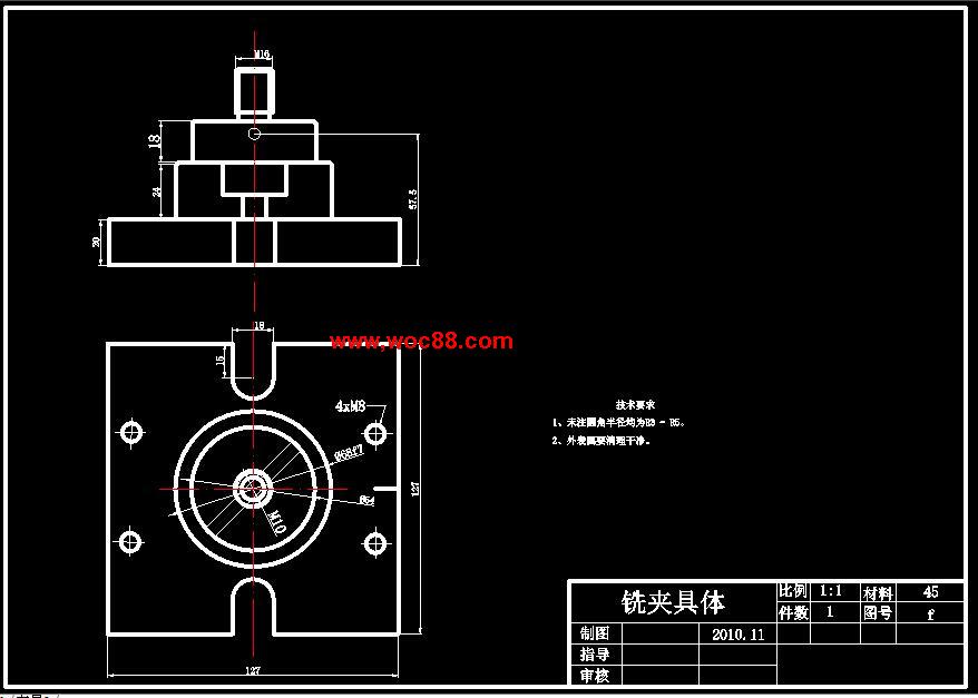 内容详情: 内容简介:【终稿】CA6140车床齿轮的机械加工工艺规程及夹具设计【CAD图纸全套终稿】。  倒右端的角(圆角)。  C620-1型卧式车床40掉头半精车左端106.5及台阶面,半精车117和90外圆及其端面,半精镗68内孔表面和71圆槽内表面。  倒右端的角(圆角)。  4、工序40 掉头半精车106.
