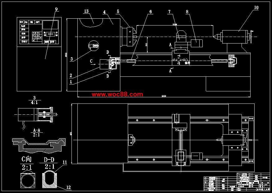 (答辩稿)Φ630mm的数控车床总体设计及四方回转刀架设计(cad图纸 doc