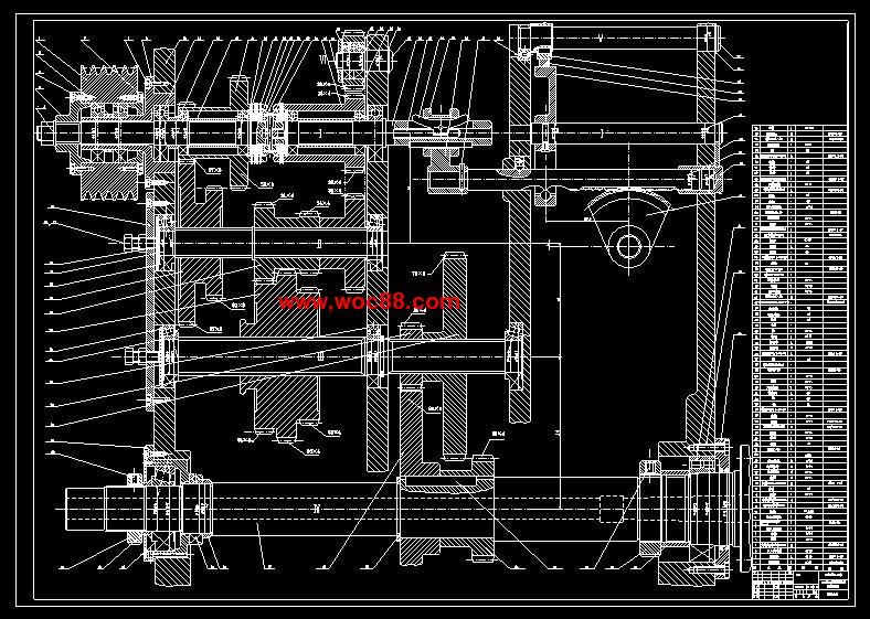 《630mm的数控车床总体设计及主轴箱设计.rar》由会员分享,可在线阅读全文,更多相关《(定稿)630mm的数控车床总体设计及主轴箱设计(CAD图纸+毕业论文)》请在www.woc88.com上搜索。  1、轴的布置方位等。轴的校核计算轴的受力简图:轴的传动路线有两条,一条是、由齿轮传动至轴上,再又齿轮至齿轮带动主轴运转另一条是由齿轮和齿轮传动至轴上,再又齿轮至齿轮带动主轴运转。a)先校核由齿轮传入,齿轮传出时轴的强度)作轴的水平面(H)弯矩图和垂直面(V)弯矩图gt计算轴上的功率:轴上