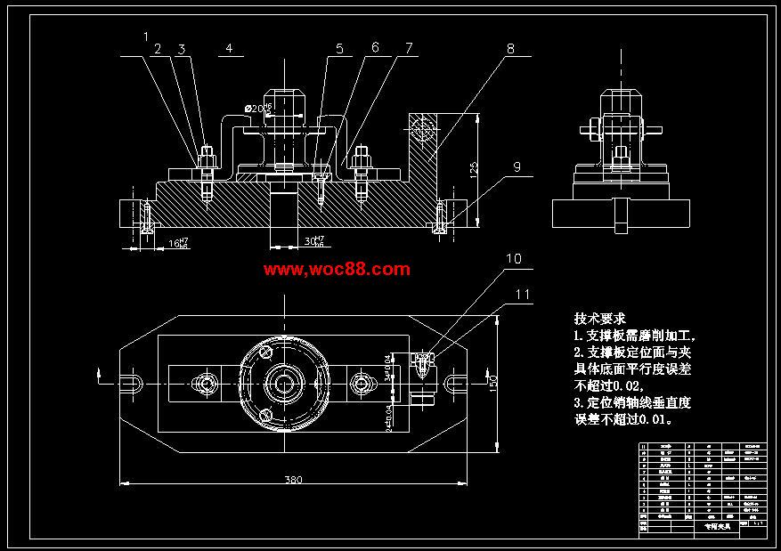 《CA6140机床法兰盘831004铣距中心34、24两面设计.rar》由会员分享,可在线阅读全文,更多相关《(毕设全套)CA6140机床法兰盘831004铣距中心34、24两面设计(含CAD图纸)》请在www.woc88.com上搜索。 1、应把保证精度放在首位,故选用方案二车削两端面。由于各端面及外圆柱面都与轴线有公差保证,所以加工各端面及外圆柱面时应尽量选用孔为定位基准。经过比较修改后的具体工艺过程如下:工序粗车端面及外圆柱面,粗车B面,粗车的外圆柱面工序粗车端面及外圆柱面。 2、工序前并且