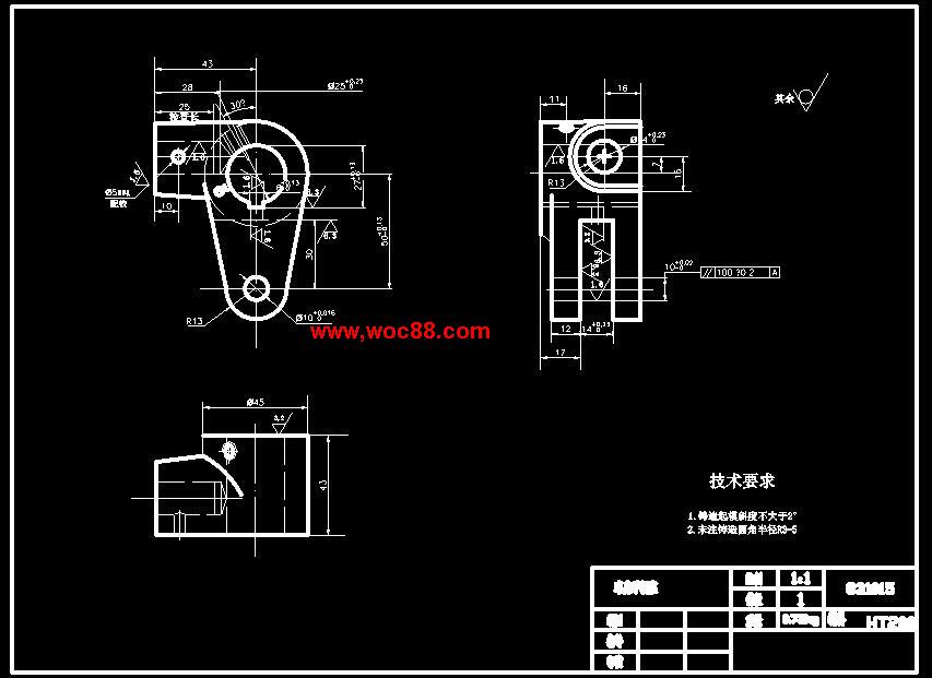 《CA6140车床手柄座831015手柄座6钻M10底孔夹具设计.rar》由会员分享,可在线阅读全文,更多相关《【全套设计】CA6140车床手柄座831015手柄座6钻M10底孔夹具设计【CAD图纸】》请在www.woc88.com上搜索。 1、的铰刀按机床选取基本工时:.工序六的切削用量及基本工时的确定:铣的槽。nb选用高速钢圆柱形铣刀,齿数Z=第一次走刀:按机床选。 2、本工时)按机床选取基本工时:粗铰孔:选择高速钢锥柄机用铰刀(《工艺》表-),,,按机床选取(《工艺》表-)(《工艺》表-)基。 3