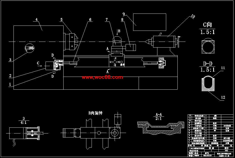 (独家原创)CA6150普通车床的数控技术改造(全套CAD图纸完整版)CAD截图02