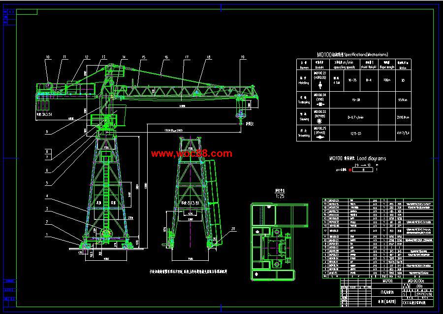 (独家原创)MQ100_门式起重机总体计算书设计(全套CAD图纸完整版)CAD截图01
